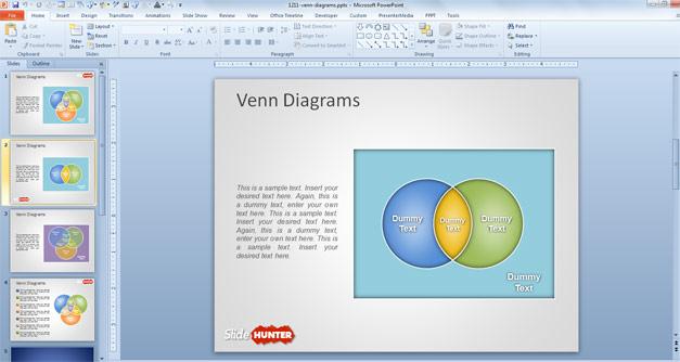 Diagrama de Venn creativo para PowerPoint