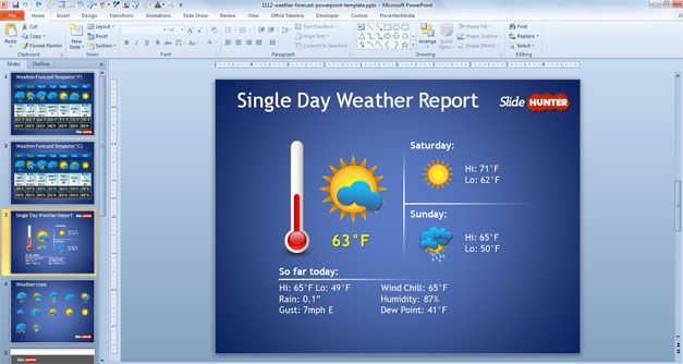 dashboard powerpoint weather thermometer presentation