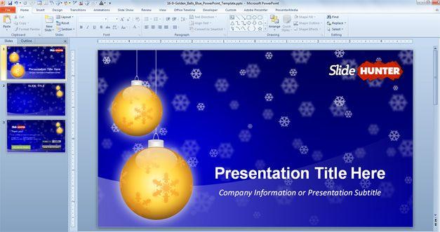 Widescreen Golden Balls PowerPoint Template for Christmas