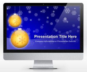 Widescreen Golden Balls PowerPoint Template for Christmas (16×9)