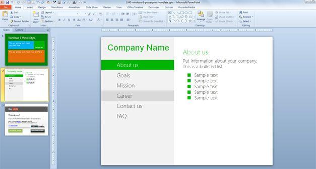 Microsoft Windows 8 Template Metro interface free