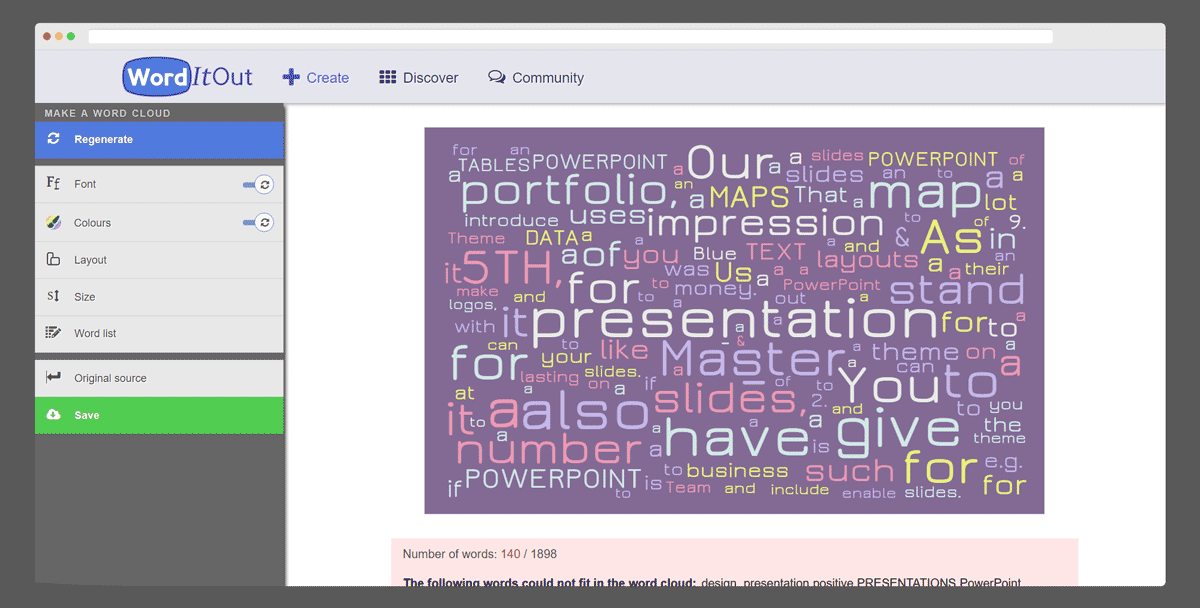 Word It Out tag cloud generator tool