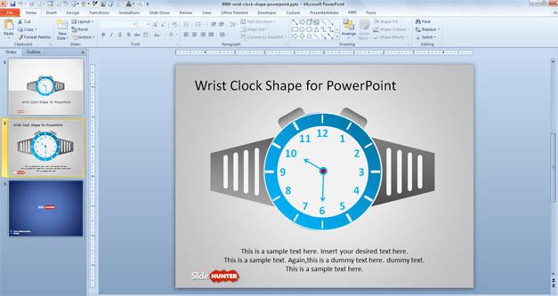 Free Wrist Clock shape for PowerPoint presentations