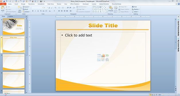 Free Glossy Gold PowerPoint Template with Yellow Background
